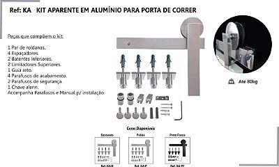 PERFIL - Kit Aparente p/ Porta de Correr 2m - KA E - Alumínio - Escovado