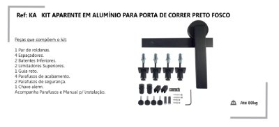 PERFIL - Kit Aparente p/ Porta de Correr 2m - KA PF -Alumínio - Preto Fosco