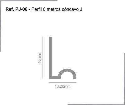 PERFIL - Perfil de Alumínio 6m - PJ - Trilho Côncavo J - 18 x 10,20mm