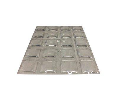Criativa - Batente de Silicone Quadrado - 12mm x 2mm - Transparente - 1 Cartela