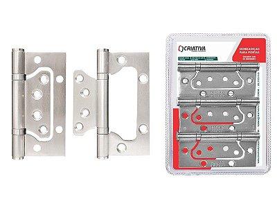 Criativa - Dobradiça p/ Porta BH02NP - INOX 201 Escovado - c/ 3 Unidades