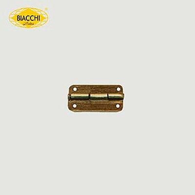 Biacchi - Dobradiça p/ Artesanato Canto Redondo - 15 x 11mm Furo 1,20 - Aço Ouro Velho - DB5055R-15AOV