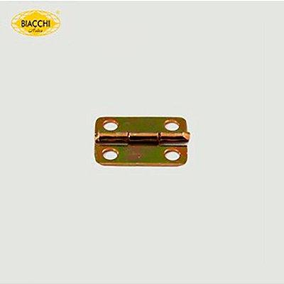 Biacchi - Dobradiça p/ Artesanato Canto Redondo - 15 x 11mm Furo 2,40 - Aço Zinco Amarelo - DB5155R-15AZA