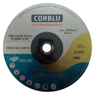 "CORBLU - Disco de Corte Alta Performance 9"" - 230mm"