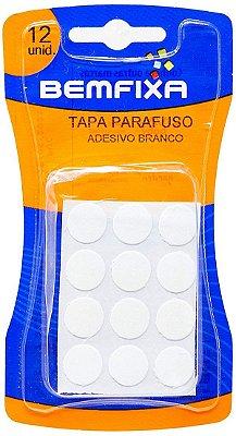 Bemfixa - Tapa Parafuso Adesivo - Branco - Cartela c/ 12 unid.