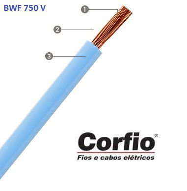 Corfio - Metro unitário Cabo Flexível 750V 02,50mm 1 Metro Azul - Antichama BWF (ftz)
