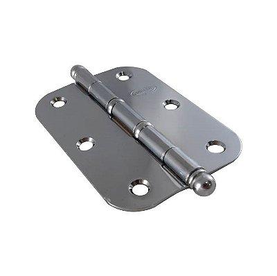 Gubler - Dobradiça Americana BAR 89 x 63mm Cromado (de Ferro) c/ Bola e Anel - Raio 15