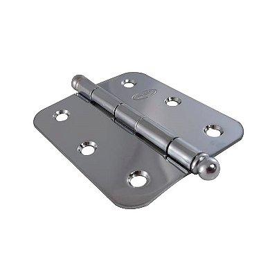 Gubler - Dobradiça Americana BR 76 x 65mm Cromado (de Ferro) c/ Bola - com Raio 10