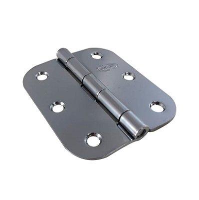 Gubler - Dobradiça Americana SR 76 x 65mm Cromado (de Ferro) Pino Simples - com Raio 15