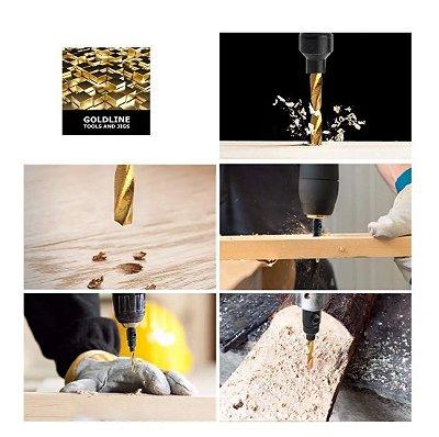 GOLDLINE - Conjunto com 5 Brocas Escareadoras em Titânio