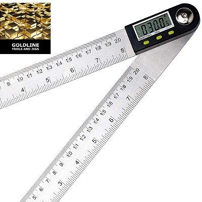 GOLDLINE - Goniômetro - Transferidor Digital e Régua - 20cm