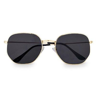 Óculos de Sol Kessy Hexagonal Preto Dourado