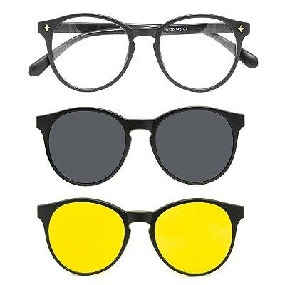 Óculos de Grau Kessy Clip On 180 Preto Fosco