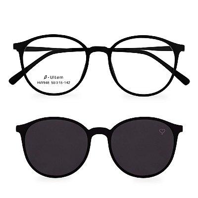 Óculos de Grau Kessy Clip On 230 Preto Fosco
