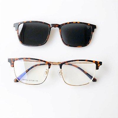 Óculos de Grau Kessy Clip On 235 Quadrado Tartaruga