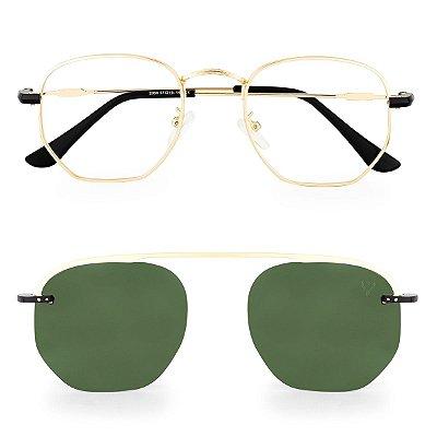 Óculos de Grau Kessy Clip On Hexagonal Dourado Lente Verde