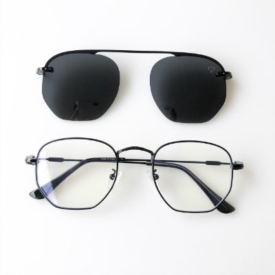 Óculos de Grau Kessy Clip On Hexagonal Preto Lente Preta