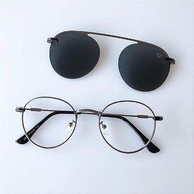 Óculos de Grau Kessy Clip On Round 245 Grafite