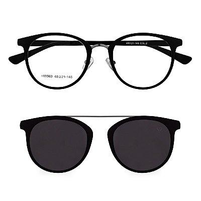 Óculos de Grau Kessy Clip On 255 Preto Fosco