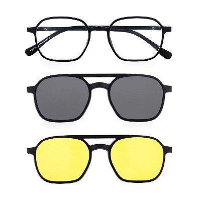 Óculos de Grau Kessy Clip On 360 Preto Fosco