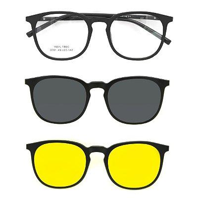 Óculos de Grau Kessy Clip On 380 Preto Fosco