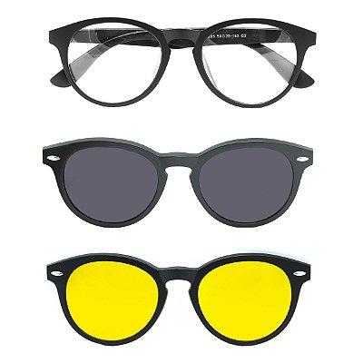 Óculos de Grau Kessy Clip On 390 Preto Fosco