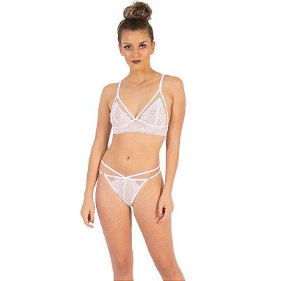 Sutiã Sexy Branco em Renda e Tule sem Bojo