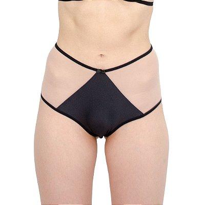 Calcinha Hot Pant Preta em Microfibra com Tule Transparente