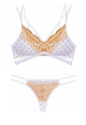 Conjunto em tule branco com dourado sutiã com bojo borboleta e calcinha fio dental