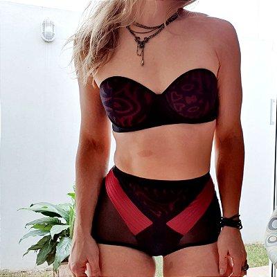Calcinha Fashion Hot Pant Preto e Vermelho