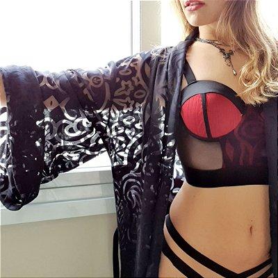 Kit Preto com Vermelho Kimono Cropped Calcinha Fio Dental