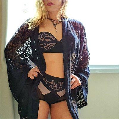 Kit Preto com Nude Kimono Sutiã Tomara que Caia Calcinha Hot Pant