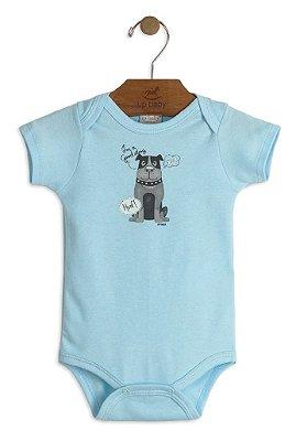 294063edd Body Infantil Up Baby Manga Curta com Estampa Dog Azul