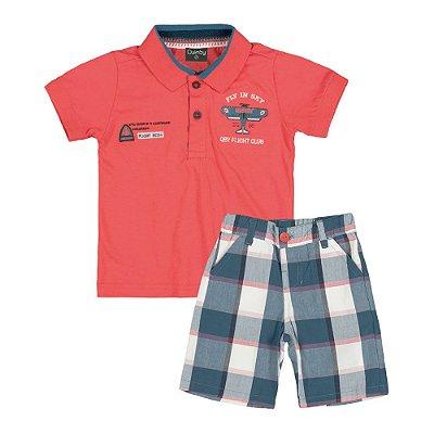 Conjunto Camisa Polo Laranja e Bermuda Xadrez