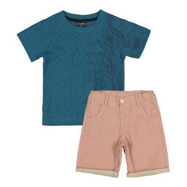 Conjunto Infantil Menino Camiseta e Bermuda Quimby Azul