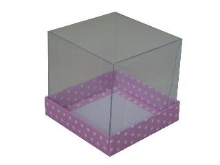 Caixinhas para Mini Bolos - 10x10x10 / Rosa com Póas Brancas