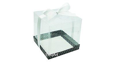 Caixinha para Mini Bolos - Preto com Poás Brancas