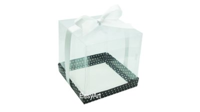 Caixinhas para Mini Bolos - Preto com Poás Brancas