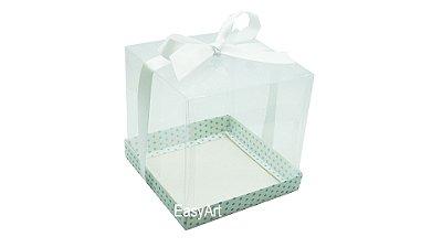 Caixinhas para Mini Bolos - Branco com Poás Azuis