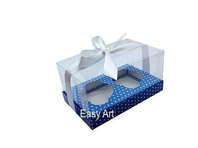 Caixas para Dois Cupcakes - Azul Poa Branca