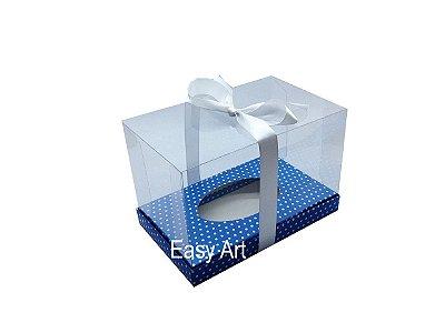 Caixa Ovo de Páscoa Deitado - Azul Poá Branca