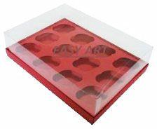 Caixas para 12 Mini Cupcakes - Vermelho