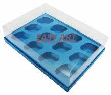 Caixas para 12 Mini Cupcakes - Azul Turquesa