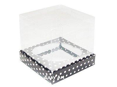 Caixas Especiais para Mini Cupcakes - 6x6x6 / Preto Poás Brancas