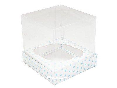 Caixas para Mini Cupcakes - Branco Poás Azuis