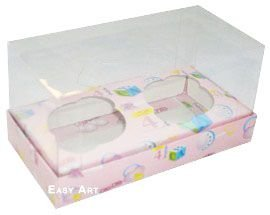 Caixas para 2 Mini Cupcakes - Estampado Bebê Rosa