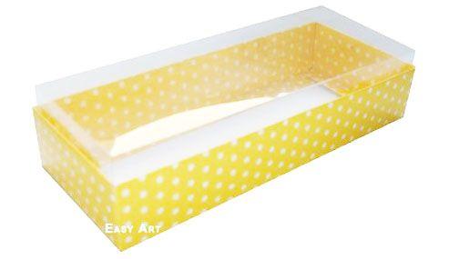 Caixa para 8 Brigadeiros - Amarelo com Poás Brancas
