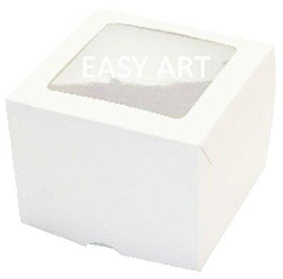 Caixas para 1 Cupcake com Visor - Branco