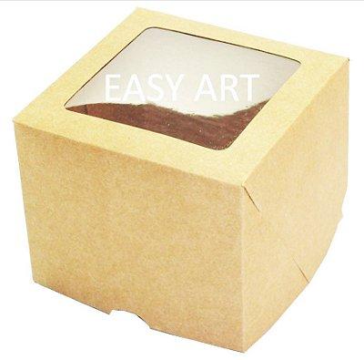 Caixas para 1 Cupcake com Visor - Kraft