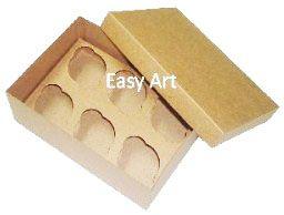 Caixas para Transporte de 6 Mini Cupcakes - Kraft